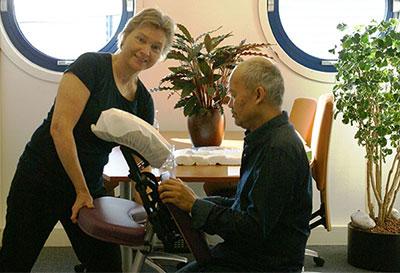 Instellen van de stoel voor stoelmassage